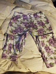 Naartjie purple floral leggings designer girls 7 years