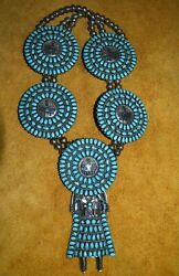 Sun Shield Kachina Squash Blossom Necklace Silver Turquoise BY Larry Moses Begay