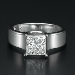 GENUINE 1.5 CT DIAMOND ENGAGEMENT RING LADIES 18K WHITE GOLD SOLITAIRE