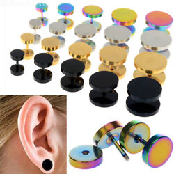 2X Cheater Faux Fake Ear Plugs Gauges Tapers Gold Black Stainless Steel Earrings