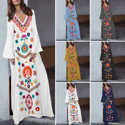 Women Floral Printed V Neck Long Sleeve Plus Size Abaya Kaftan Maxi Long Dress