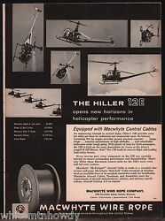 1959 HILLER 12E Helicopter Photo MacWhyte Wire Rope AD $12.99