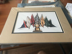TOM BUTLER SIGNED NEW TAN MATTED PRINT 14 X 11 SEVEN FLAGS OF RACING