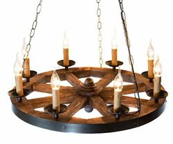 Wood Wagon Wheel Chandelier AIVENGO. Home Decor Farmhouse Vintage Rustic Style $250.99