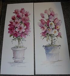 Pair of tulip amp; magnolia topiary art prints by Ros Oesterle 8x20 pail urn $12.50
