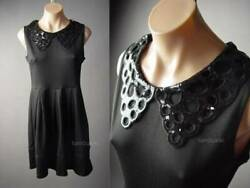 Black Sequin Eyelet Chelsea Collar Mod 60s High Waist Babydoll 296 mvp Dress M L