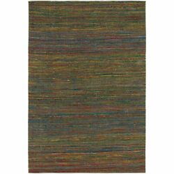 Artist's Loom Hand-Woven Contemporary Solid Pattern Rug multi