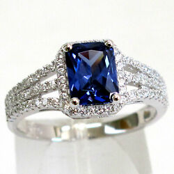 TRENDY 1.5 CT TANZANITE 925 STERLING SILVER RING SIZE 5