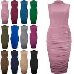 Plus Size Ladies Womens Polo Turtle High Neck Sleeveless Ruched Bodycon Dresses