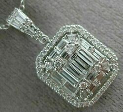 ESTATE EXTRA LARGE 2.07CT ROUND BAGUETTE DIAMOND 14K WHITE GOLD CLUSTER PENDANT