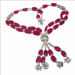 Ruby Ethnic Jewelry Handmade Necklace 60 Gms LN-35445