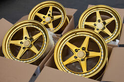 18x8.5 +35 5x100 DS05 Vacuum Gold Chrome 18