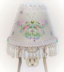 Whimsical Pastels Butterfly NIGHT LIGHT with Lovely White Beaded Fringe Trims
