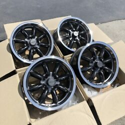 Used Set 16x7 Rota RB 4x114.3 +10 Royal Hyper Black Rims Fits Datsun 240z 260z