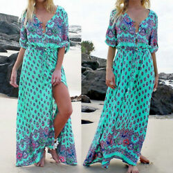 Women#x27;s Boho Half Sleeve Split Beach Holiday Sundress Casual Long Maxi Dress $14.20