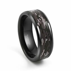 8MM Black Tungsten Ring Men's  Camouflage Camo Hunting Band Ring Size 7-13