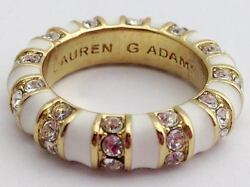 Lauren G Adams Stackable Gold Strip Tease White Ring R-63502G Size 5  New