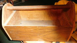 Antique Vintage Handmade Primitive Wooden Tool box Cutlery Caddy Wood Handle