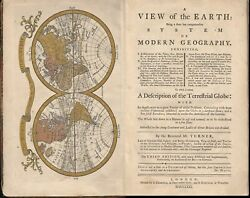 A View of the Earth System of Geography Terrestrial Globe w maps volvelle 1771