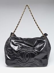 Chanel Black Patent Vinyl Rock and Chain Large Accordion Flap Bag