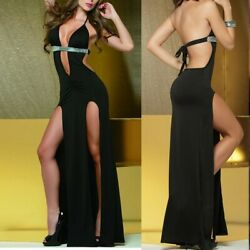 Women Sexy Lingerie Clubwear Deep V-Neck Backless Sequined Split Dress