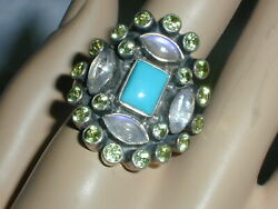 GORGEOUS~ NICKY BUTLER LARGE STERLING MOONSTONE- TURQUOISE PERIDOT RING- SIZE 11