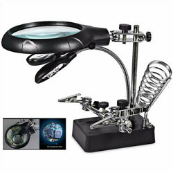 2.5X 7.5X 10X LED Light Helping Hands Magnifier Station Magnifying Glass Stand
