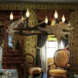 Antler Chandelier Horn Lamp Decor Farmhouse Vintage Resin 6 Lights Lodge Bar $134.99