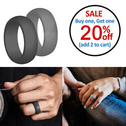 Silicone Wedding Ring For Women Men Thin Wedding Band Anniversary Rubber 2-Pack