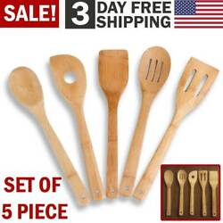 Bamboo Kitchen Utensils Wooden Cooking Set Spatula Spoons Serving Tools Mix Kit