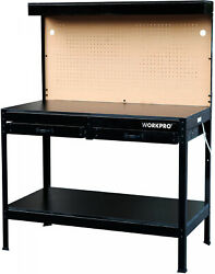 Workshop Workbench Tool Table with Work Light Shelf Drawers Outlet Peg Board