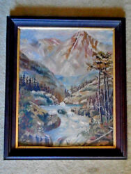 Old Oil Painting MOUNTAIN RIVER LANDSCAPE Rustic Signed On Board Wanlut Frame $27.99