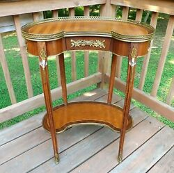 Antique French Table Ormolu Vanity Lamp Table Hand Dovetailed Bronze Mounts $395.00