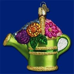 WATERING CAN OLD WORLD CHRISTMAS FLOWER GARDENING GLASS ORNAMENT NWT 32044