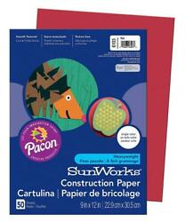 SunWorks Construction Paper Red 9quot; x 12quot; 50 Sheets 50 Count Red $3.89