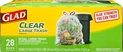 Glad Clear Recycling Drawstring Large Trash Bags Clear 30 Gallon 28 Count $19.87