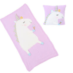 Super Cute Unicorn Knitted Two-piece Set Baby Pillow And Blanket Soft Comfortab