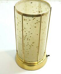 VINTAGE 1950'S BRASS CAGE WITH FIBERGLASS SHADE DESK TV OR TABLE LAMP 10