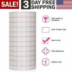 Clear Vinyl Transfer Paper Tape Roll Self Adhesive Stick with Red Alignment Grid