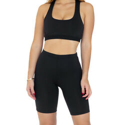BLACK WOMEN'S COTTON SPANDEX GYM YOGA CYCLING BIKER SHORTSS-3XL
