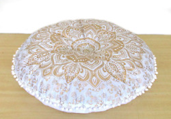 28quot; Round Floor White Gold Cushion Cover Indian Decorative Large Pillow Covers $12.59