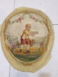 Vintage France Tapestry Wall Hanging Antique 19th Century ? Rare French art $200.00