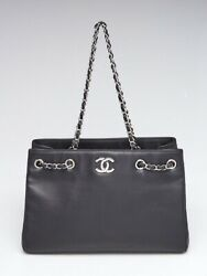 Chanel Black Calfskin Leather and Chain Large Shopping Tote Bag