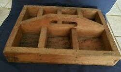 Vintage Antique Primitive Wooden Tool Box Nail Tote Rustic Farm Caddy Carrier