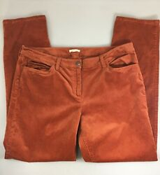 Eileen Fisher Womens 16 Burnt Orange Corduroy Cotton Blend Pants 36 x 32