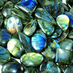 250 Cts  100% NATURAL LABRADORITE CABOCHON MULTI-FIRE LOOSE GEMSTONE LOT