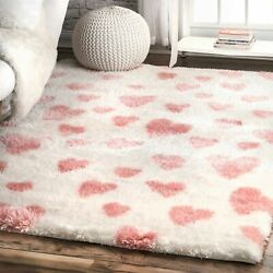 nuLOOM Contemporary Alison Heart Shag Area Rug in Pink $49.99