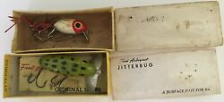 VTG LOT 2 FROG JITTERBUG Fred Arbogast Lure Co HULA DANCER FISHING BOXES CATALOG