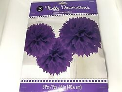 "Purple Party Fluffy Decoration Pack Of 3 Pieces 16 "" Hanging Party Decor $7.99"