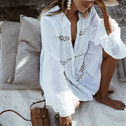 Bohemian White Cotton Button Up Embroidered Tunic Top Festival Blouse M L XL $39.99